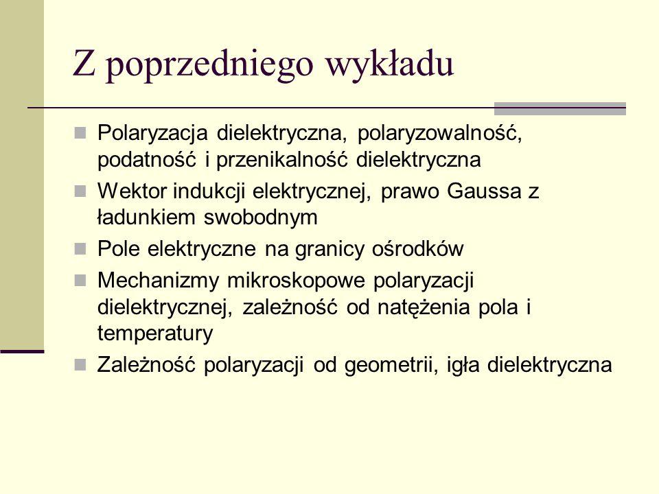 Z poprzedniego wykładu Polaryzacja dielektryczna, polaryzowalność, podatność i przenikalność dielektryczna Wektor indukcji elektrycznej, prawo Gaussa
