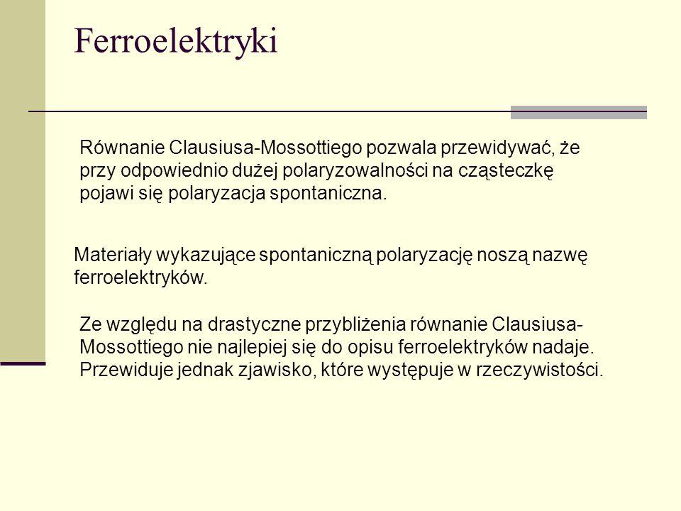 Ferroelektryki Równanie Clausiusa-Mossottiego pozwala przewidywać, że przy odpowiednio dużej polaryzowalności na cząsteczkę pojawi się polaryzacja spo