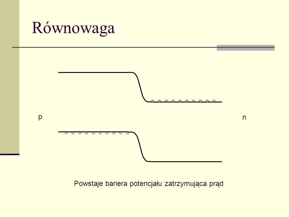 Równowaga n p Powstaje bariera potencjału zatrzymująca prąd