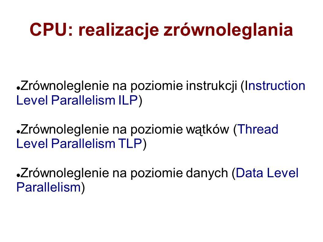 CPU: realizacje zrównoleglania Zrównoleglenie na poziomie instrukcji (Instruction Level Parallelism ILP) Zrównoleglenie na poziomie wątków (Thread Level Parallelism TLP) Zrównoleglenie na poziomie danych (Data Level Parallelism)