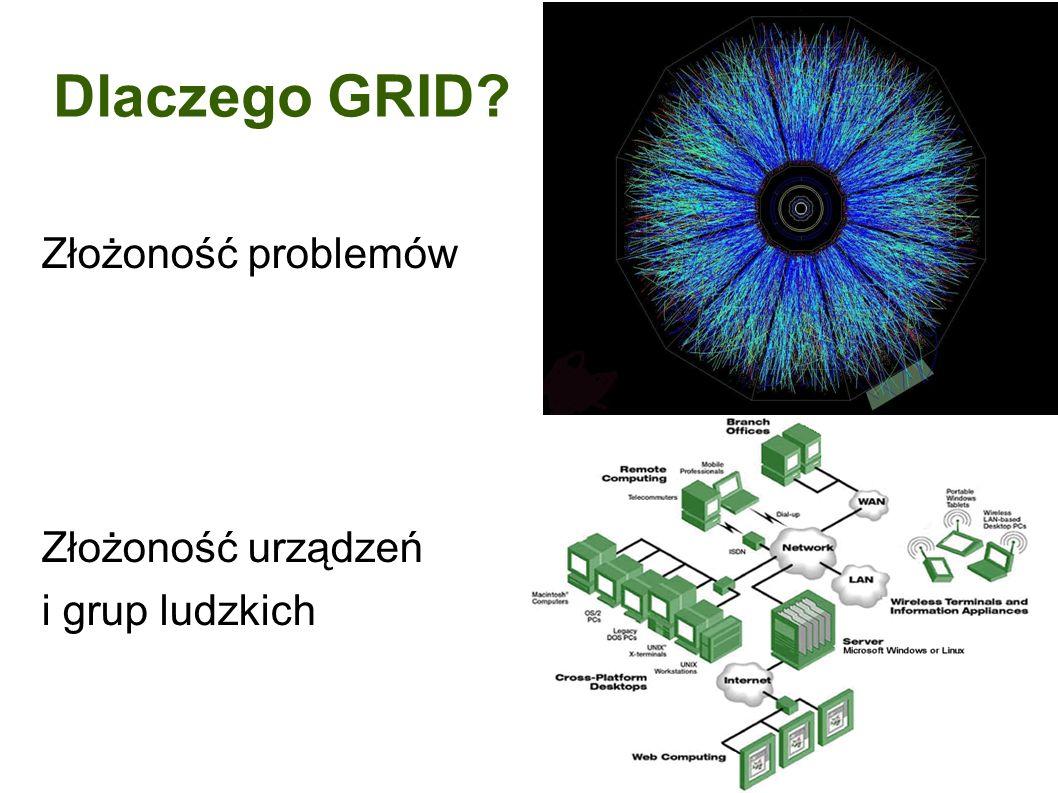Dlaczego GRID Złożoność problemów Złożoność urządzeń i grup ludzkich