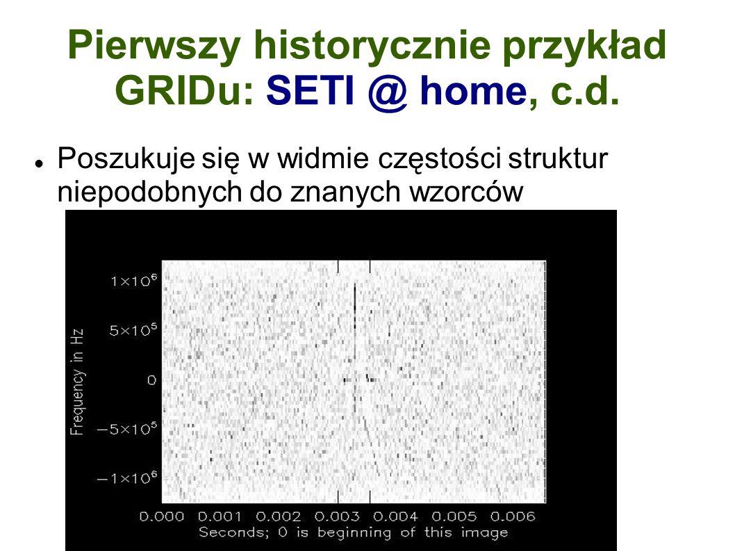 Pierwszy historycznie przykład GRIDu: SETI @ home, c.d.