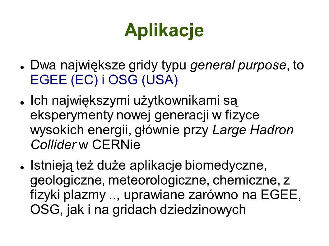 Aplikacje Dwa największe gridy typu general purpose, to EGEE (EC) i OSG (USA) Ich największymi użytkownikami są eksperymenty nowej generacji w fizyce wysokich energii, głównie przy Large Hadron Collider w CERNie Istnieją też duże aplikacje biomedyczne, geologiczne, meteorologiczne, chemiczne, z fizyki plazmy.., uprawiane zarówno na EGEE, OSG, jak i na gridach dziedzinowych