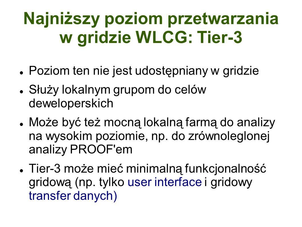 Najniższy poziom przetwarzania w gridzie WLCG: Tier-3 Poziom ten nie jest udostępniany w gridzie Służy lokalnym grupom do celów deweloperskich Może być też mocną lokalną farmą do analizy na wysokim poziomie, np.