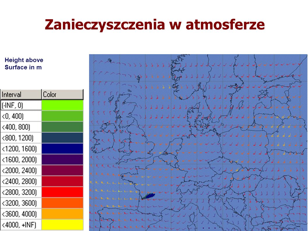 Height above Surface in m Zanieczyszczenia w atmosferze