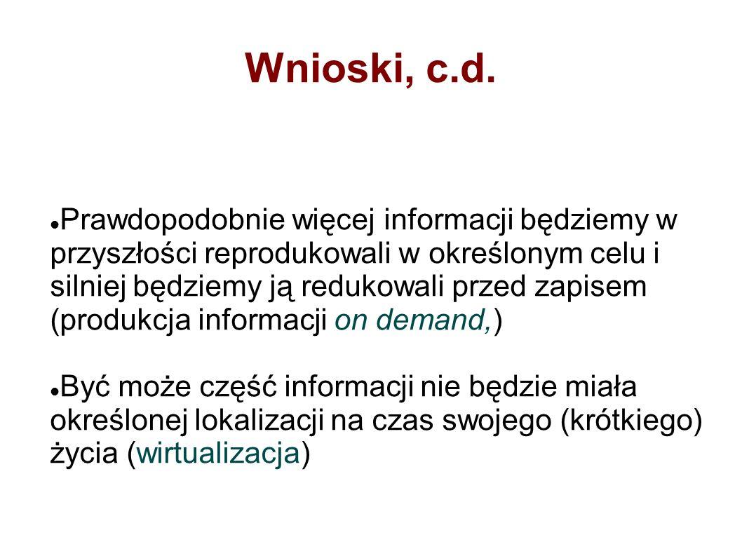 Wnioski, c.d.