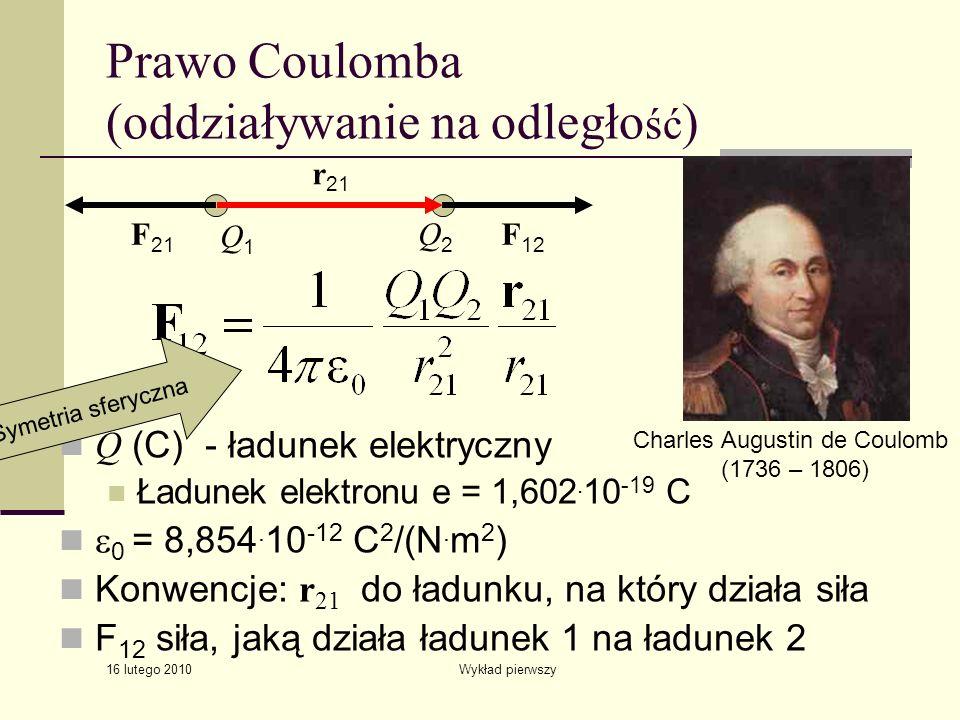 16 lutego 2010 Wykład pierwszy Prawo Coulomba (oddziaływanie na odległo ść ) Q (C) - ładunek elektryczny Ładunek elektronu e = 1,602. 10 -19 C 0 = 8,8