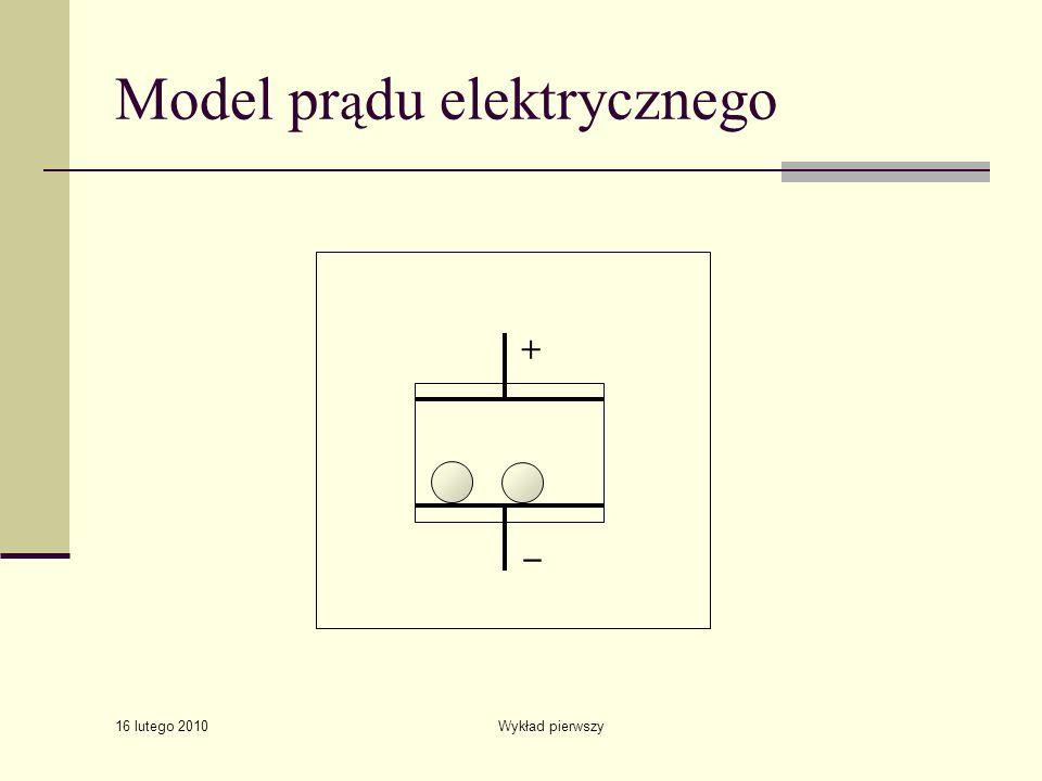 16 lutego 2010 Wykład pierwszy Model pr ą du elektrycznego + _