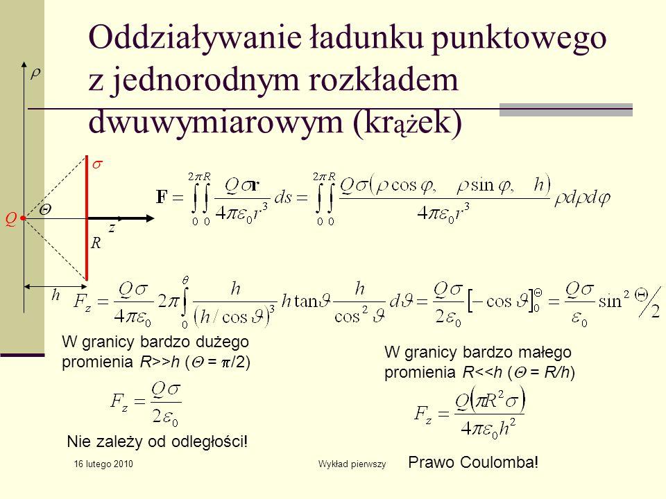 16 lutego 2010 Wykład pierwszy Oddziaływanie ładunku punktowego z jednorodnym rozkładem dwuwymiarowym (kr ąż ek) W granicy bardzo dużego promienia R>>