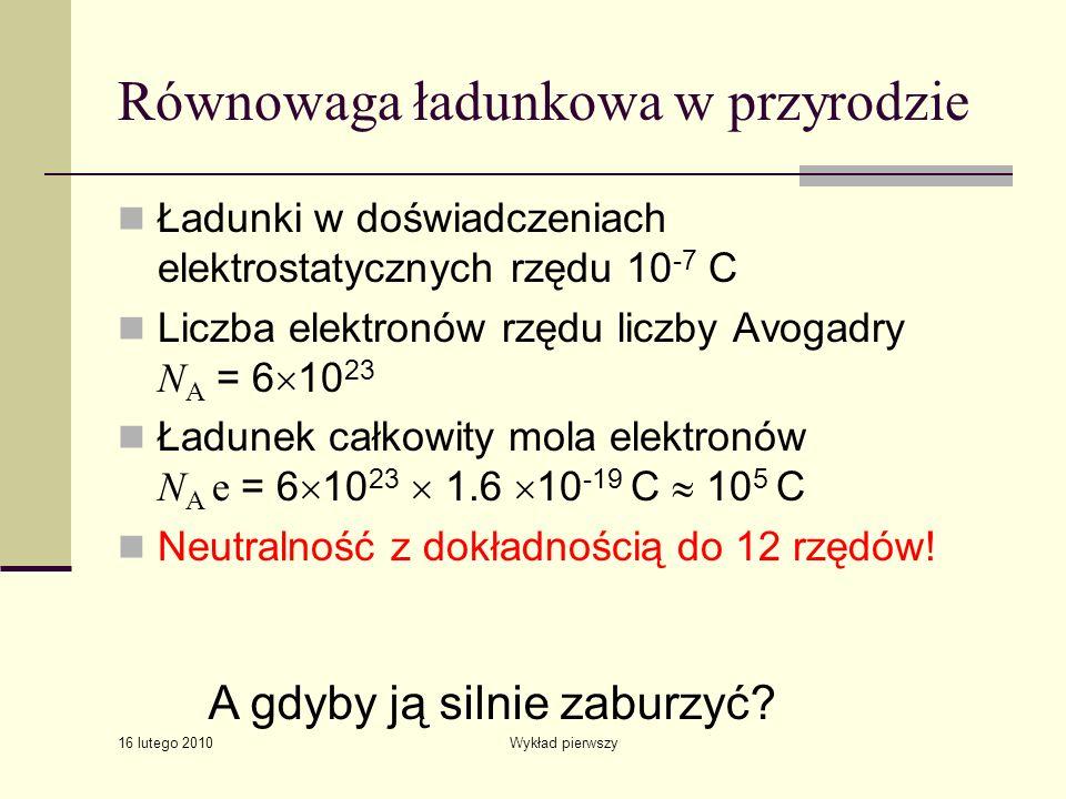 16 lutego 2010 Wykład pierwszy Równowaga ładunkowa w przyrodzie Ładunki w doświadczeniach elektrostatycznych rzędu 10 -7 C Liczba elektronów rzędu lic