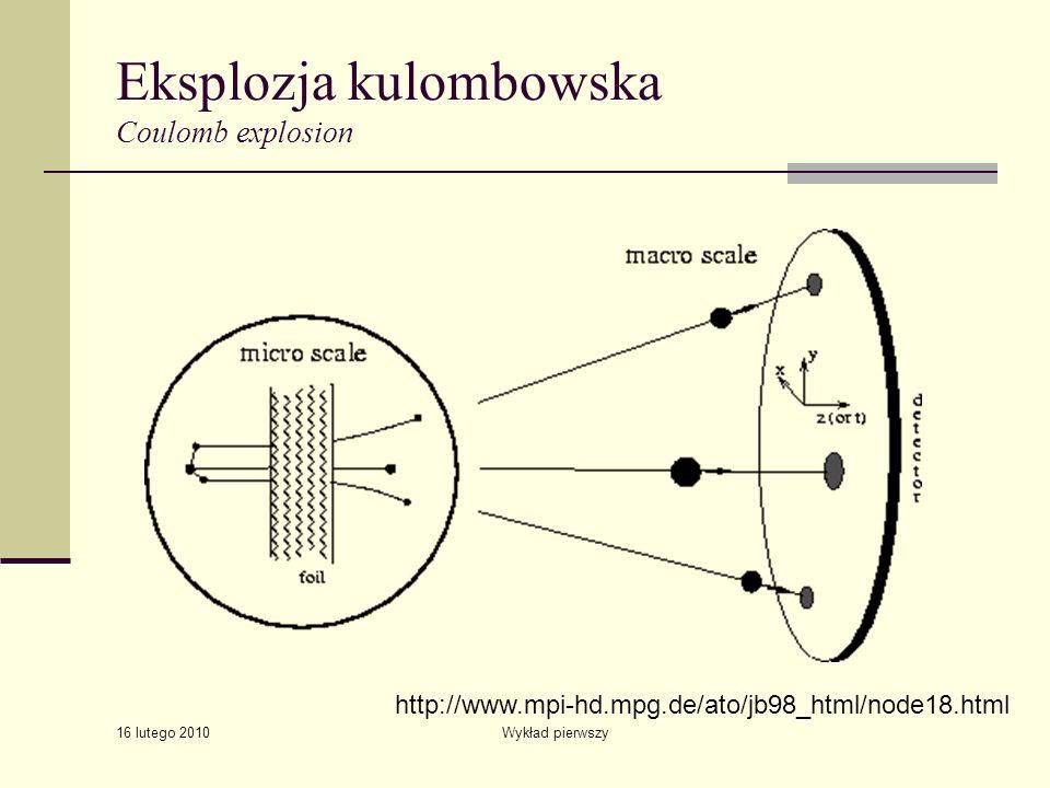 16 lutego 2010 Wykład pierwszy Eksplozja kulombowska Coulomb explosion http://www.mpi-hd.mpg.de/ato/jb98_html/node18.html