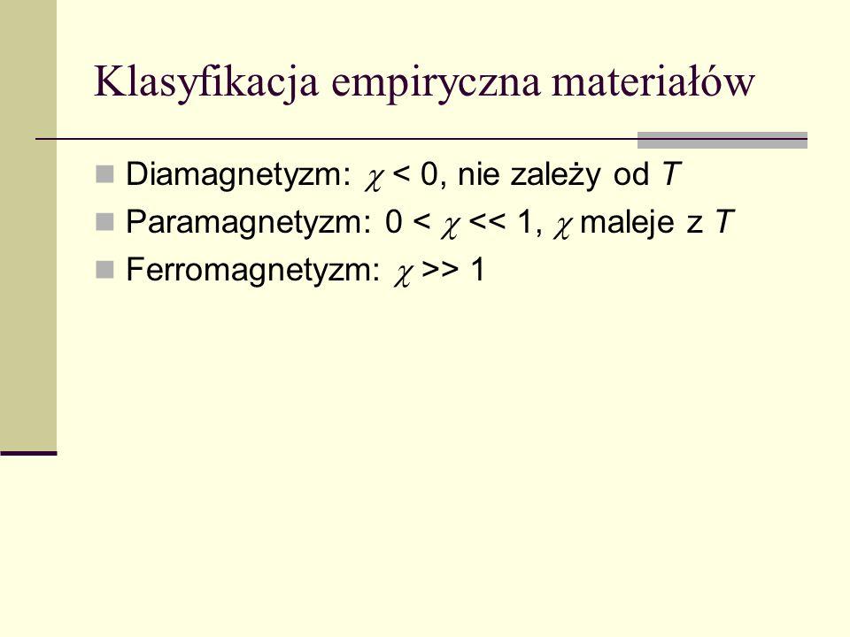 Klasyfikacja empiryczna materiałów Diamagnetyzm: < 0, nie zależy od T Paramagnetyzm: 0 < << 1, maleje z T Ferromagnetyzm: >> 1