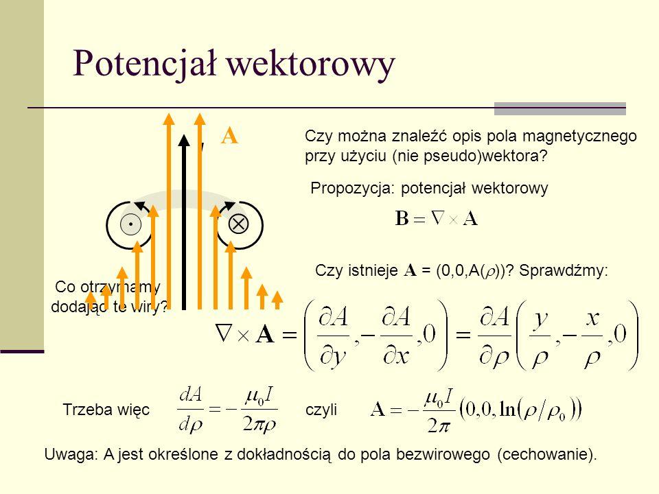 Potencjał wektorowy I Czy można znaleźć opis pola magnetycznego przy użyciu (nie pseudo)wektora? Propozycja: potencjał wektorowy Co otrzymamy dodając