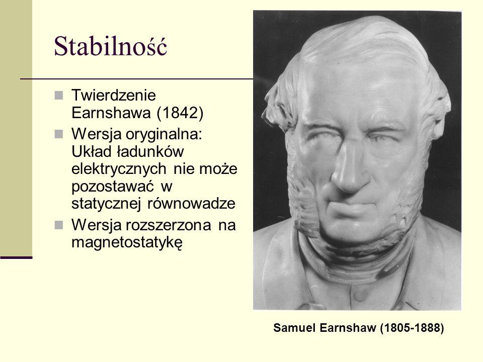 Stabilno ść Twierdzenie Earnshawa (1842) Wersja oryginalna: Układ ładunków elektrycznych nie może pozostawać w statycznej równowadze Wersja rozszerzon