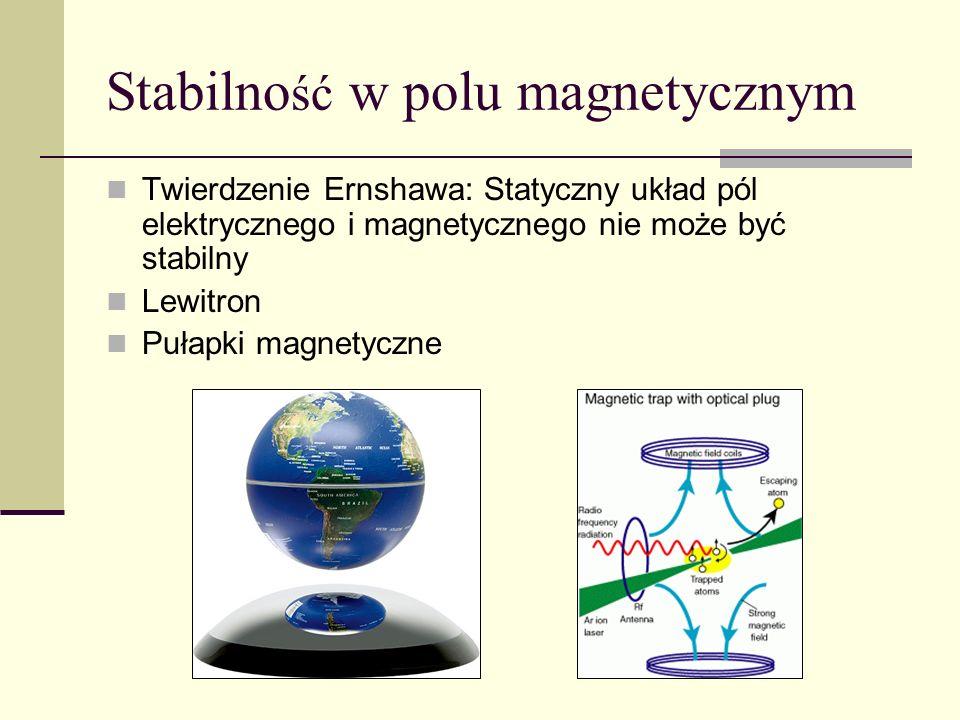 Stabilno ść w polu magnetycznym Twierdzenie Ernshawa: Statyczny układ pól elektrycznego i magnetycznego nie może być stabilny Lewitron Pułapki magnety