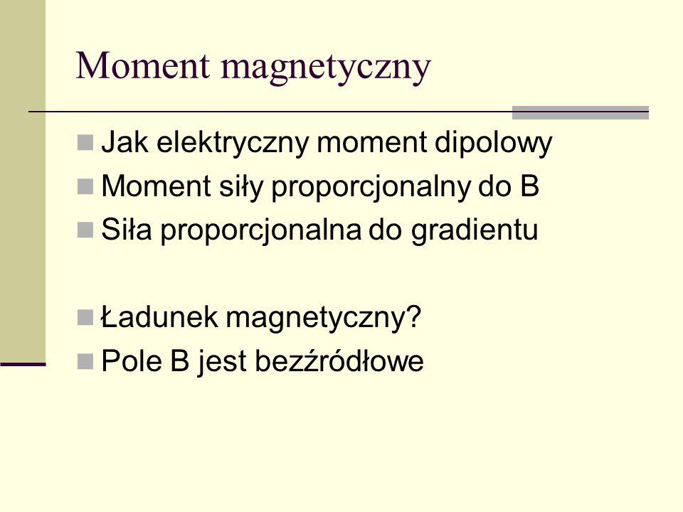Moment magnetyczny Jak elektryczny moment dipolowy Moment siły proporcjonalny do B Siła proporcjonalna do gradientu Ładunek magnetyczny? Pole B jest b