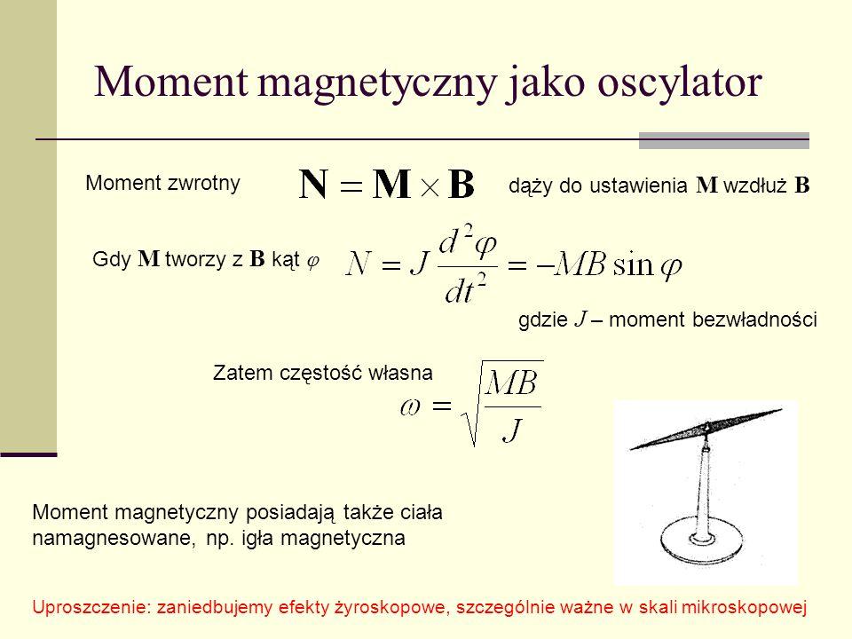 Moment magnetyczny jako oscylator Moment magnetyczny posiadają także ciała namagnesowane, np. igła magnetyczna Moment zwrotny dąży do ustawienia M wzd