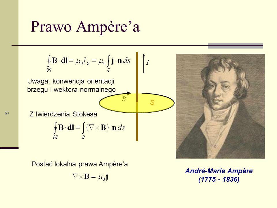 Prawo Ampèrea André-Marie Ampère (1775 - 1836) Uwaga: konwencja orientacji brzegu i wektora normalnego Z twierdzenia Stokesa Postać lokalna prawa Ampè