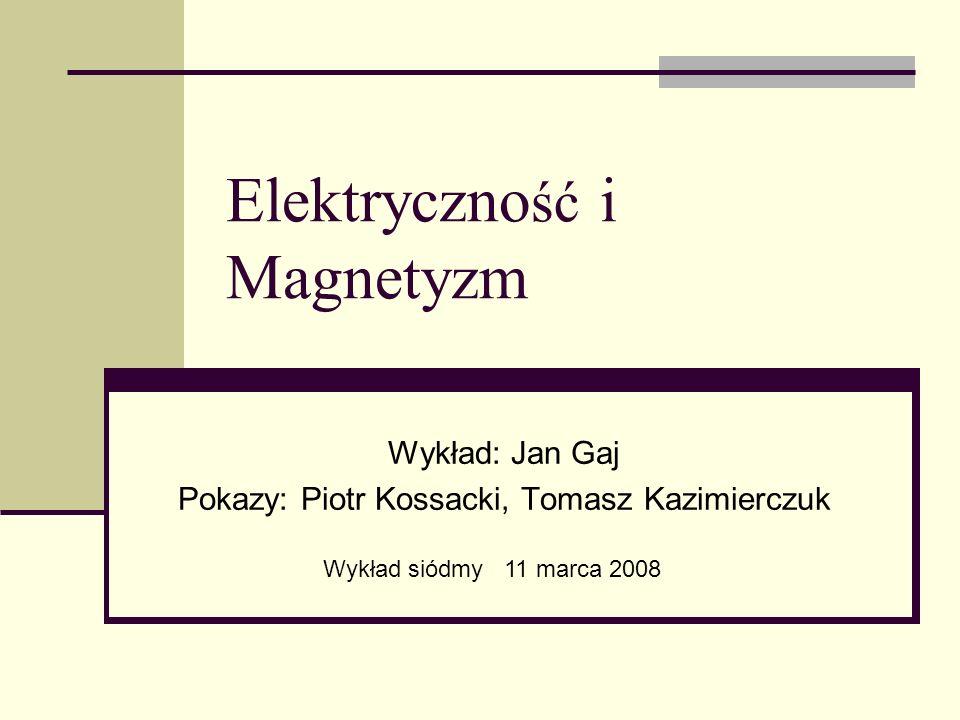 Elektryczno ść i Magnetyzm Wykład: Jan Gaj Pokazy: Piotr Kossacki, Tomasz Kazimierczuk Wykład siódmy 11 marca 2008