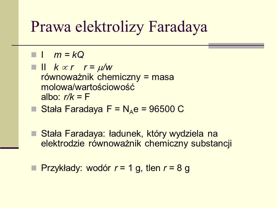 Prawa elektrolizy Faradaya I m = kQ II k r r = /w równoważnik chemiczny = masa molowa/wartościowość albo: r/k = F Stała Faradaya F = N A e = 96500 C Stała Faradaya: ładunek, który wydziela na elektrodzie równoważnik chemiczny substancji Przykłady: wodór r = 1 g, tlen r = 8 g