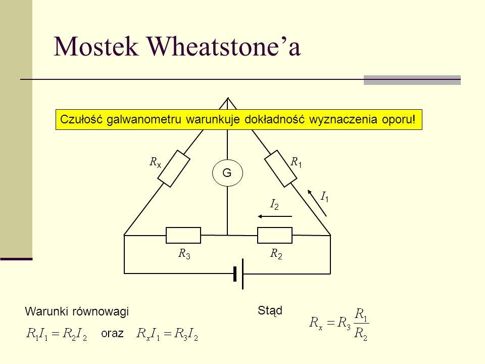 Mostek Wheatstonea R1R1 R3R3 R2R2 G RxRx I1I1 I2I2 Warunki równowagi Stąd Czułość galwanometru warunkuje dokładność wyznaczenia oporu!