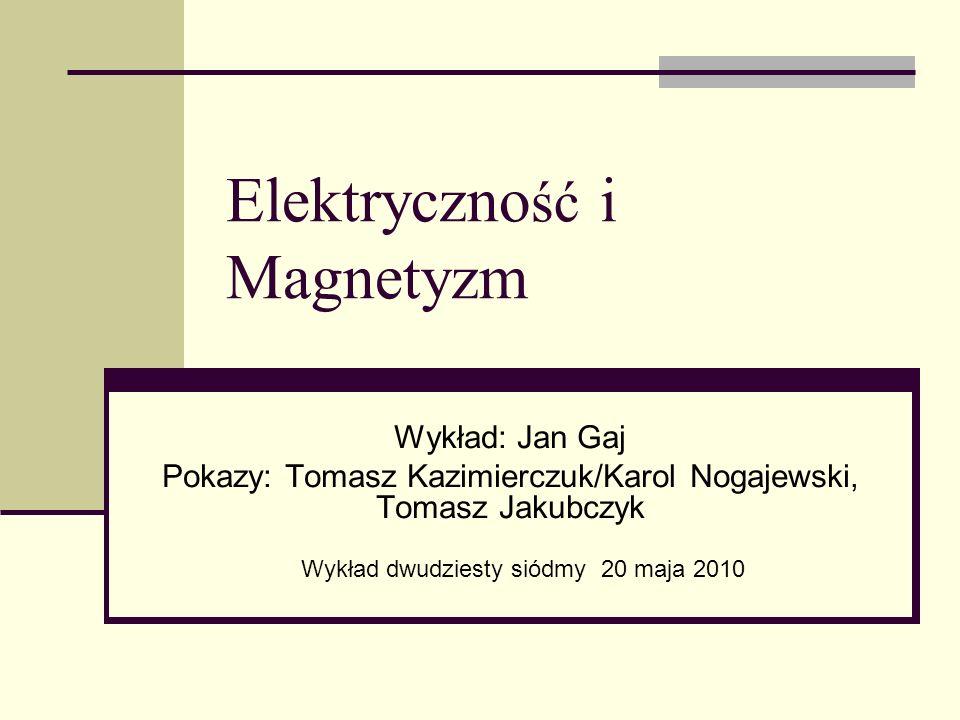 Elektryczno ść i Magnetyzm Wykład: Jan Gaj Pokazy: Tomasz Kazimierczuk/Karol Nogajewski, Tomasz Jakubczyk Wykład dwudziesty siódmy 20 maja 2010