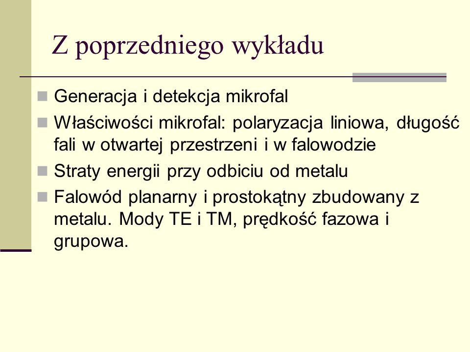 Z poprzedniego wykładu Generacja i detekcja mikrofal Właściwości mikrofal: polaryzacja liniowa, długość fali w otwartej przestrzeni i w falowodzie Str