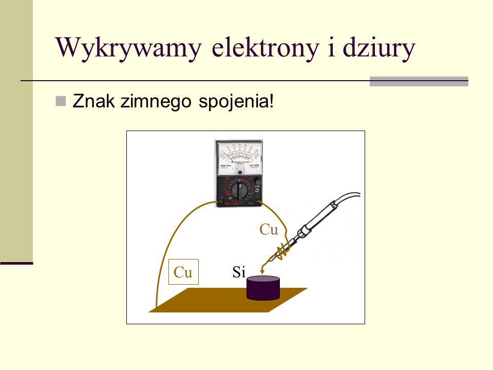 Wykrywamy elektrony i dziury Cu Znak zimnego spojenia! Cu Si