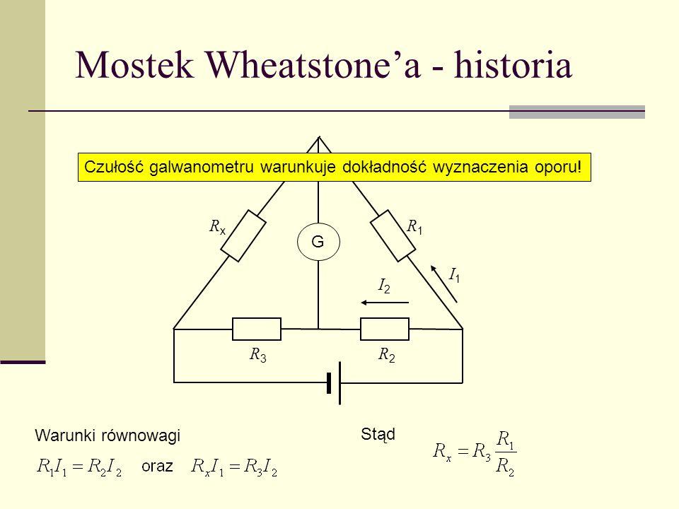 Mostek Wheatstonea - historia R1R1 R3R3 R2R2 G RxRx I1I1 I2I2 Warunki równowagi Stąd Czułość galwanometru warunkuje dokładność wyznaczenia oporu!