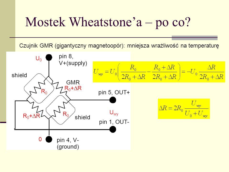 Mostek Wheatstonea – po co? Czujnik GMR (gigantyczny magnetoopór): mniejsza wrażliwość na temperaturę R0R0 R0R0 R 0 + R U wy U0U0 0