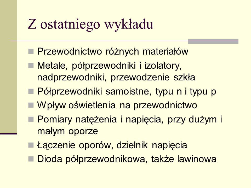 Z ostatniego wykładu Przewodnictwo różnych materiałów Metale, półprzewodniki i izolatory, nadprzewodniki, przewodzenie szkła Półprzewodniki samoistne,