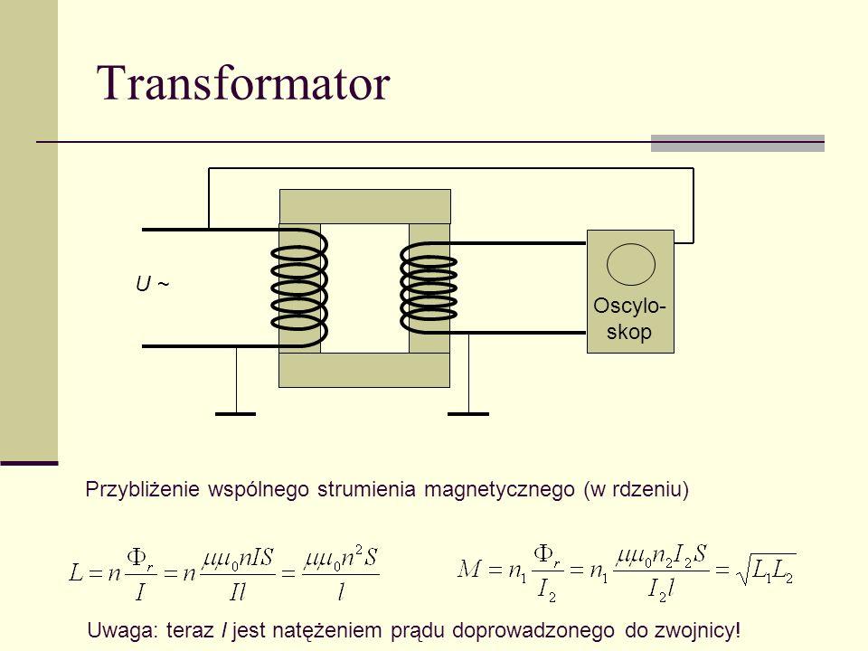 Transformator Oscylo- skop U ~ Przybliżenie wspólnego strumienia magnetycznego (w rdzeniu) Uwaga: teraz I jest natężeniem prądu doprowadzonego do zwoj