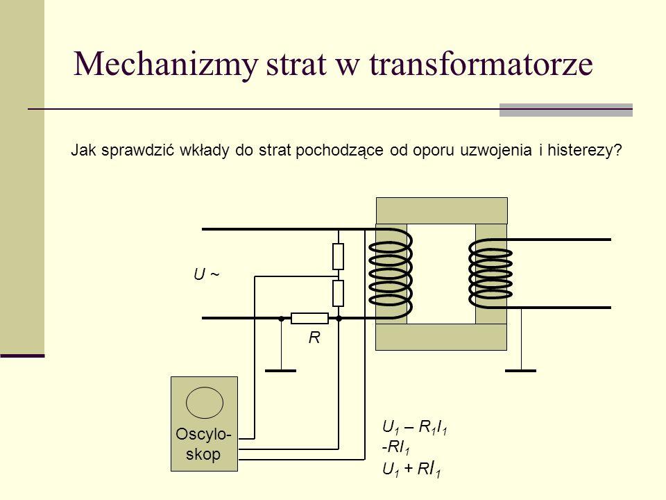 Mechanizmy strat w transformatorze Jak sprawdzić wkłady do strat pochodzące od oporu uzwojenia i histerezy? Oscylo- skop U ~ U 1 – R 1 I 1 -RI 1 U 1 +