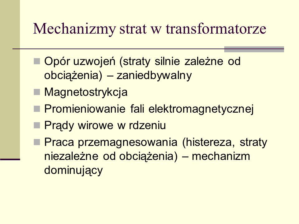 Mechanizmy strat w transformatorze Opór uzwojeń (straty silnie zależne od obciążenia) – zaniedbywalny Magnetostrykcja Promieniowanie fali elektromagne