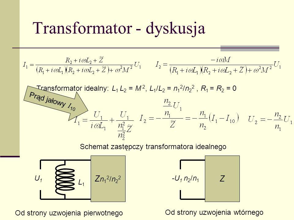 Transformator - dyskusja Transformator idealny: L 1 L 2 = M 2, L 1 /L 2 = n 1 2 /n 2 2, R 1 = R 2 = 0 U1U1 Zn12/n22Zn12/n22 L1L1 -U 1 n 2 /n 1 Z Od st