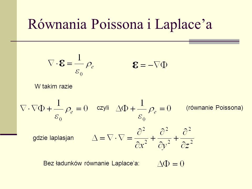 Równania Poissona i Laplacea W takim razie gdzie laplasjan Bez ładunków równanie Laplacea: czyli(równanie Poissona)