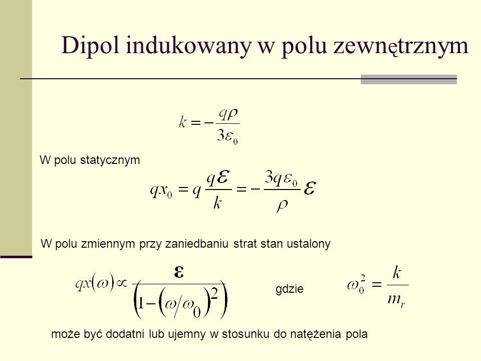 Dipol indukowany w polu zewn ę trznym W polu statycznym W polu zmiennym przy zaniedbaniu strat stan ustalony gdzie może być dodatni lub ujemny w stosu