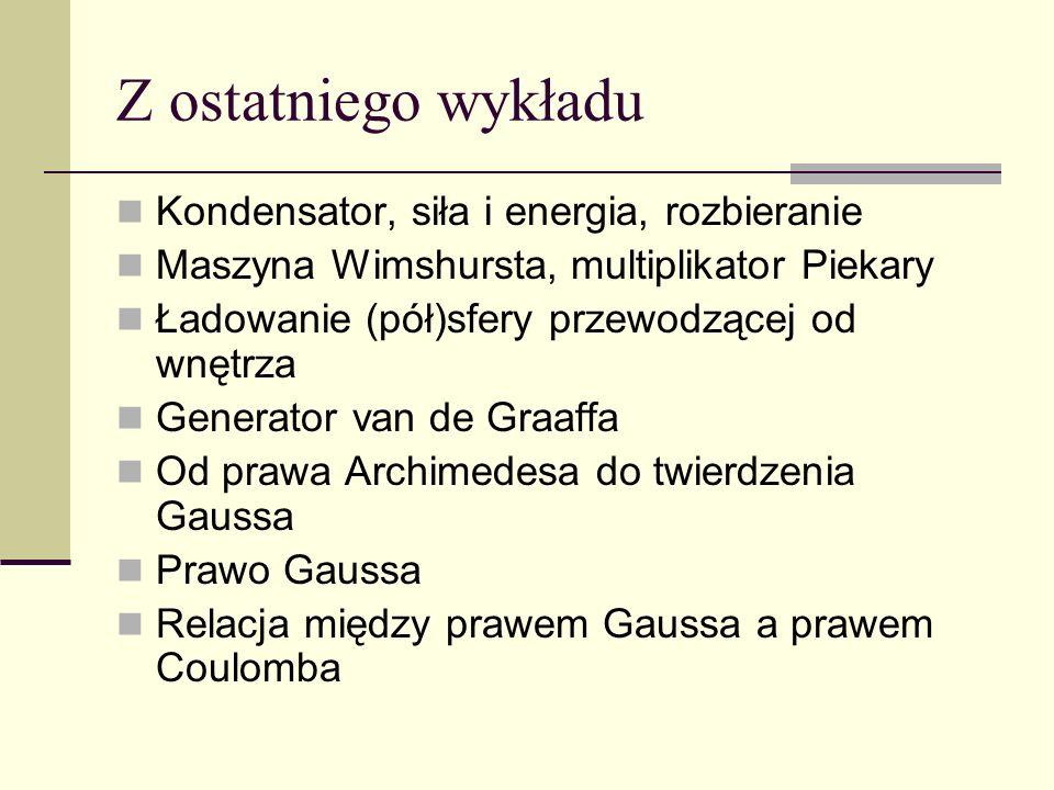 Z ostatniego wykładu Kondensator, siła i energia, rozbieranie Maszyna Wimshursta, multiplikator Piekary Ładowanie (pół)sfery przewodzącej od wnętrza G