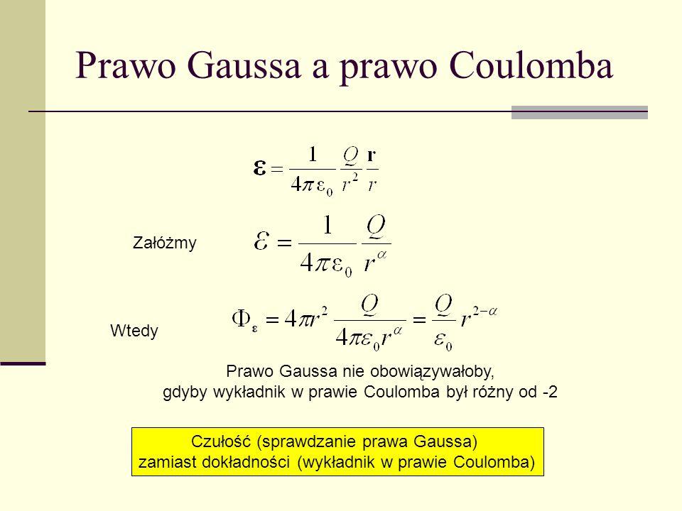 Prawo Gaussa a prawo Coulomba Załóżmy Wtedy Czułość (sprawdzanie prawa Gaussa) zamiast dokładności (wykładnik w prawie Coulomba) Prawo Gaussa nie obow