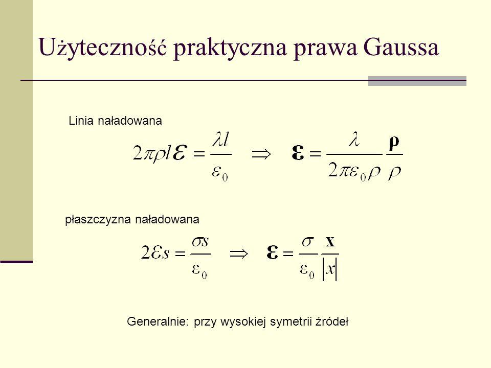 U ż yteczno ść praktyczna prawa Gaussa Linia naładowana Generalnie: przy wysokiej symetrii źródeł płaszczyzna naładowana