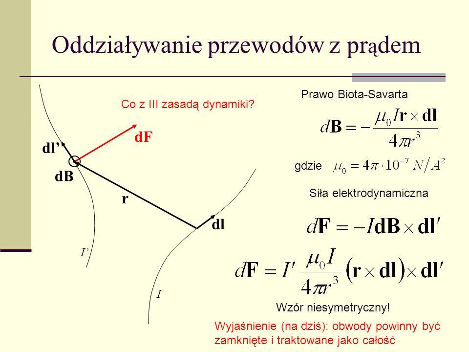 Oddziaływanie przewodów z pr ą dem dl r dB dF Wzór niesymetryczny! Co z III zasadą dynamiki? Prawo Biota-Savarta Siła elektrodynamiczna gdzie Wyjaśnie