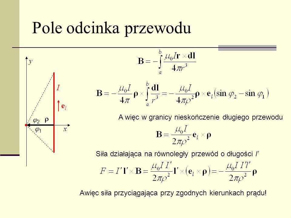 Pole odcinka przewodu 1 2 I y x A więc w granicy nieskończenie długiego przewodu Siła działająca na równoległy przewód o długości l Awięc siła przycią