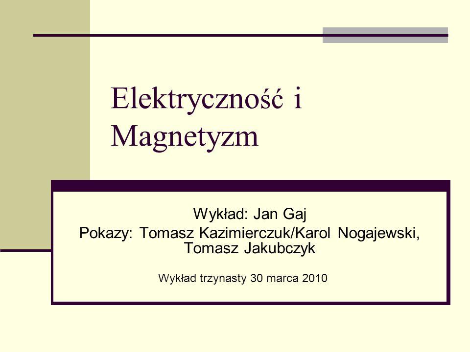 Z ostatniego wykładu Efekt Halla koncentracja nośników Potencjał wektorowy: prawdziwy wektor Zwojnice Prawo Ampèrea, prąd przesunięcia Twierdzenie Earnshawa, pułapki magnetyczne Moment magnetyczny, monopol magnetyczny NMR, obrazowanie w medycynie Najprostsze silniki elektryczne