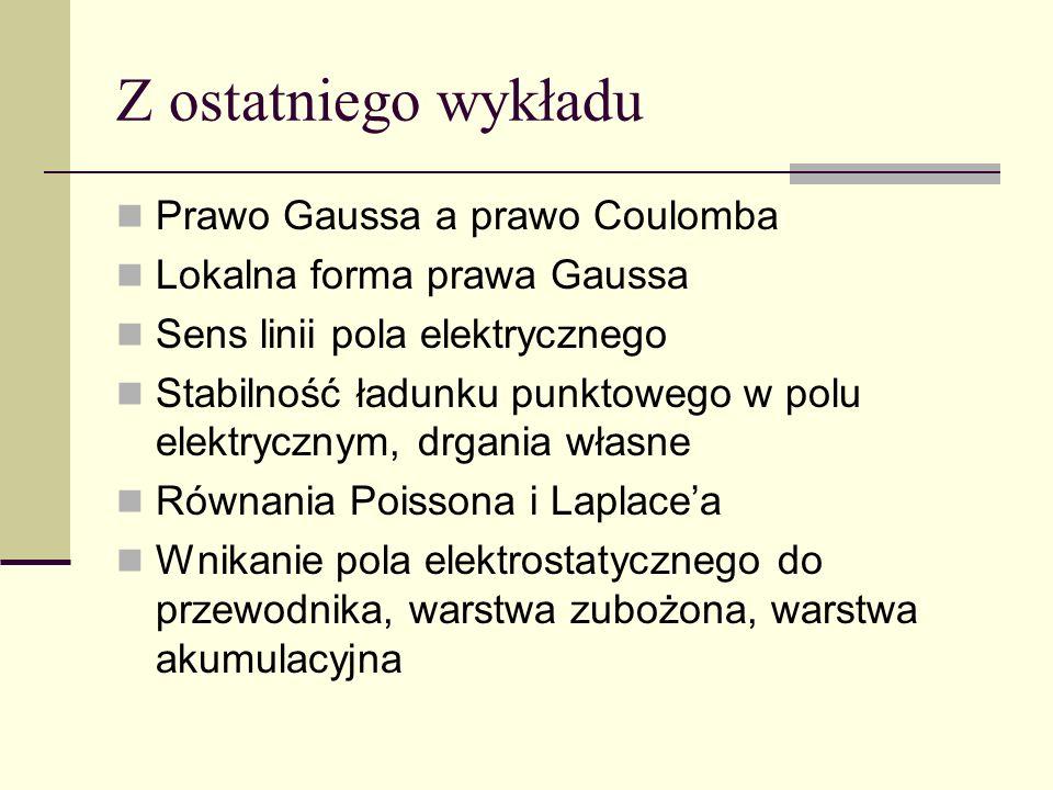Z ostatniego wykładu Prawo Gaussa a prawo Coulomba Lokalna forma prawa Gaussa Sens linii pola elektrycznego Stabilność ładunku punktowego w polu elekt