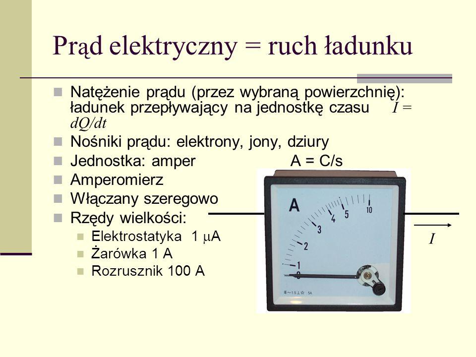 Pr ą d elektryczny = ruch ładunku Natężenie prądu (przez wybraną powierzchnię): ładunek przepływający na jednostkę czasu I = dQ/dt Nośniki prądu: elek