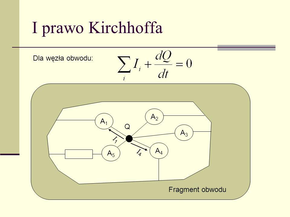 I prawo Kirchhoffa Dla węzła obwodu: A1A1 A3A3 A5A5 A4A4 A2A2 Q Fragment obwodu I1I1 I4I4