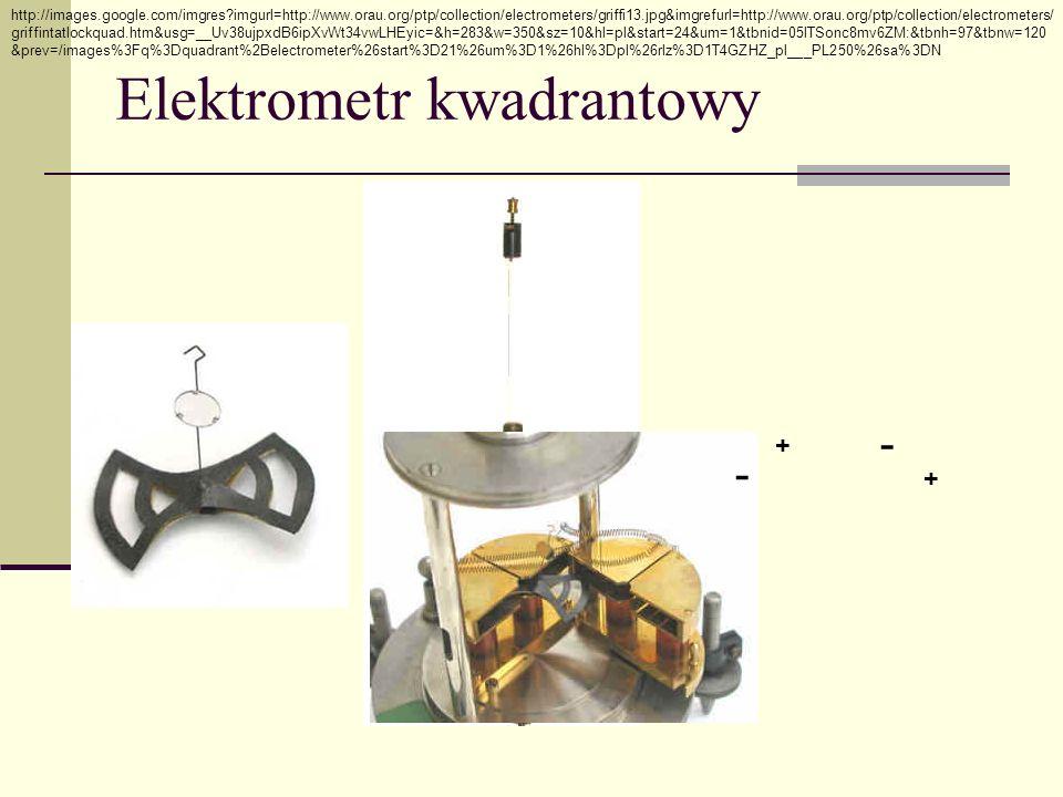 Elektrometr kwadrantowy http://images.google.com/imgres?imgurl=http://www.orau.org/ptp/collection/electrometers/griffi13.jpg&imgrefurl=http://www.orau.org/ptp/collection/electrometers/ griffintatlockquad.htm&usg=__Uv38ujpxdB6ipXvWt34vwLHEyic=&h=283&w=350&sz=10&hl=pl&start=24&um=1&tbnid=05lTSonc8mv6ZM:&tbnh=97&tbnw=120 &prev=/images%3Fq%3Dquadrant%2Belectrometer%26start%3D21%26um%3D1%26hl%3Dpl%26rlz%3D1T4GZHZ_pl___PL250%26sa%3DN + - + - - +
