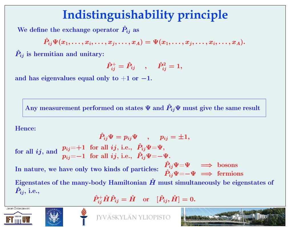 Jacek Dobaczewski Indistinguishability principle