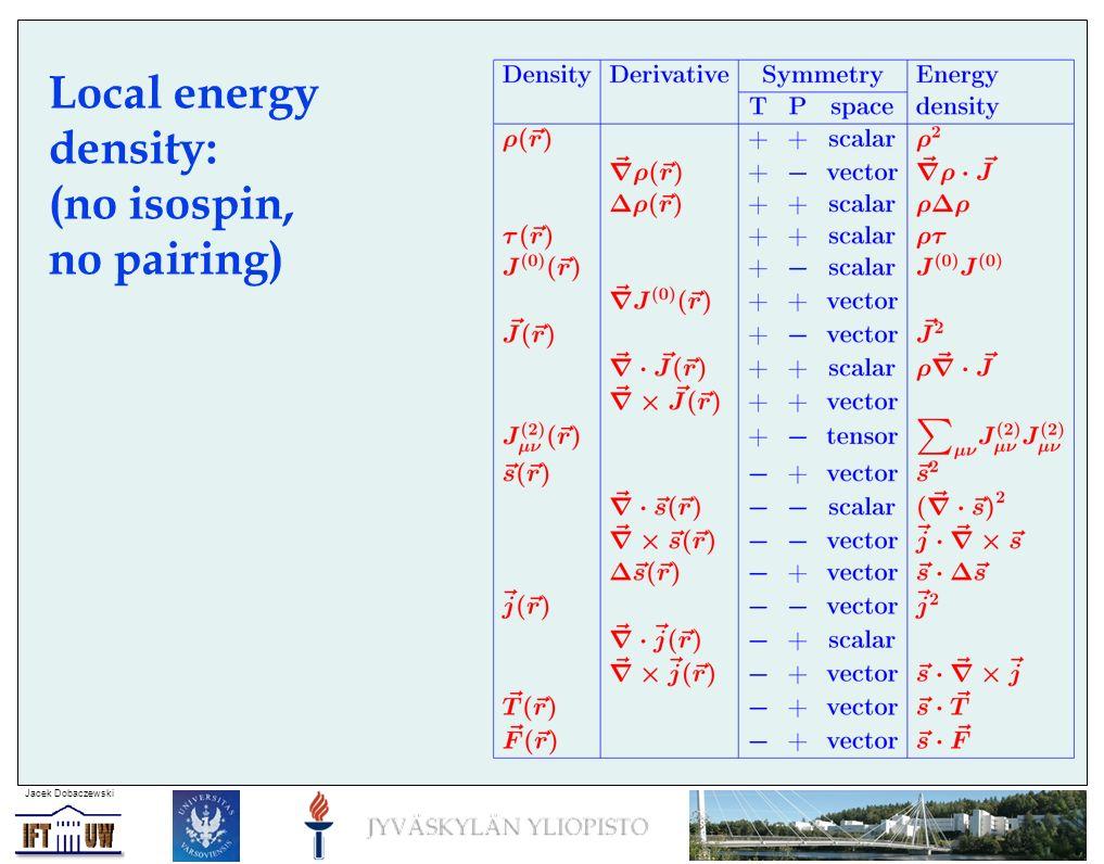 Jacek Dobaczewski Local energy density: (no isospin, no pairing)