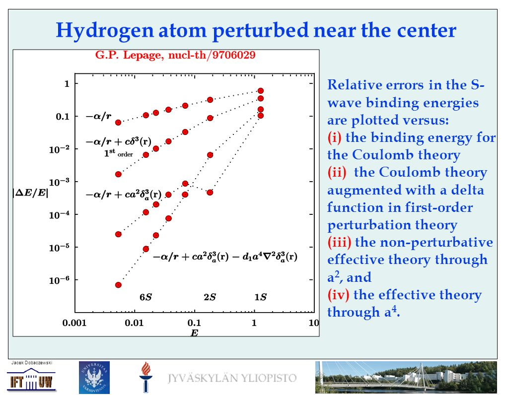 Jacek Dobaczewski Hydrogen atom perturbed near the center Relative errors in the S- wave binding energies are plotted versus: (i) the binding energy f